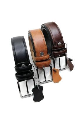 Cascades Leather 3 Adet Siyah , Kahve , Taba 3,5 Cm Derili Erkek Kumaş Pantolon Kemeri