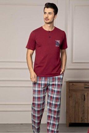 Manolya Erkek Lacivert Kısa Kolu Alt Desenli Penye Pijama Takım
