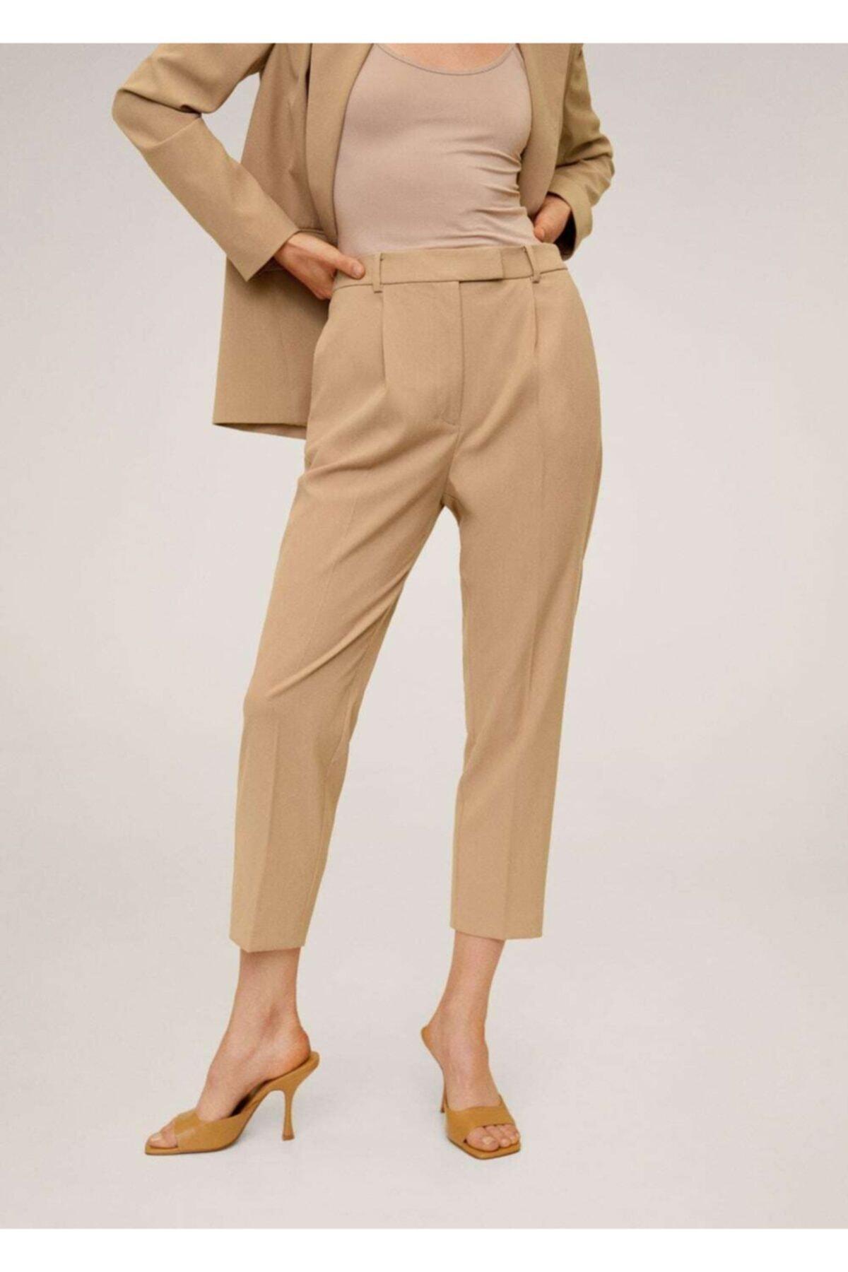 MANGO Woman Kadın Orta Kahverengi Pilili Kısa Paçalı Pantolon 67054404 2