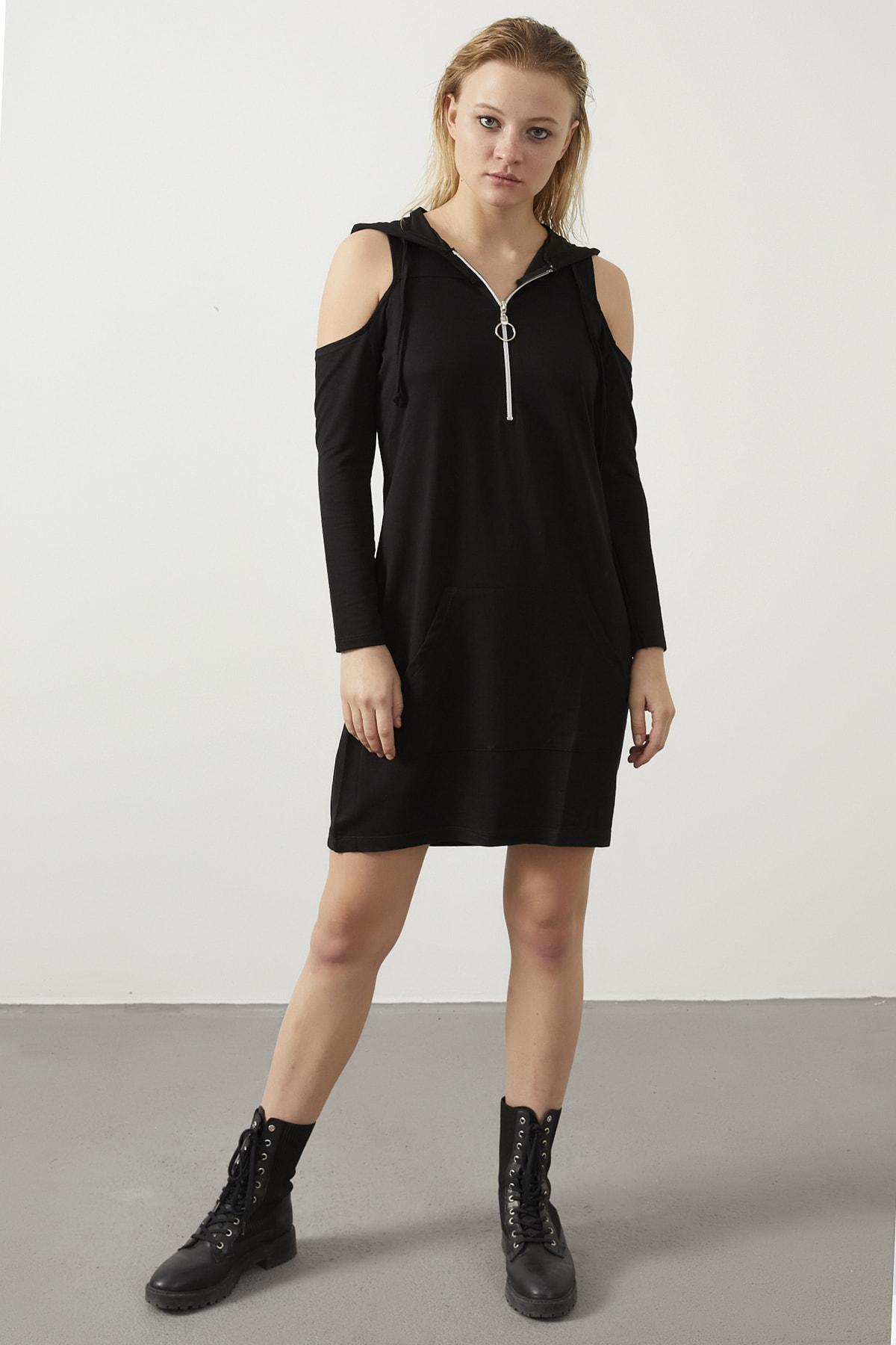 ELBİSENN Kadın Siyah Omuz Dekolteli Kapüşonlu Spor Elbise 1