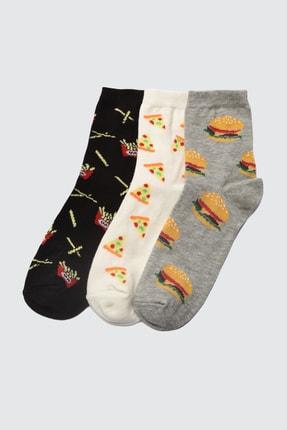 TRENDYOLMİLLA 3'lü Çok Renkli Paket Örme Çorap TWOAW21CO0132
