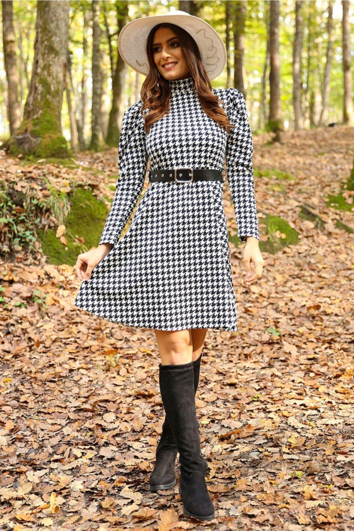 Neşeli Butik Kadın Yarım Balıkçı Kol Ve Kemer Detaylı Yeni Sezon Kışlık Elbise Nb7156 2