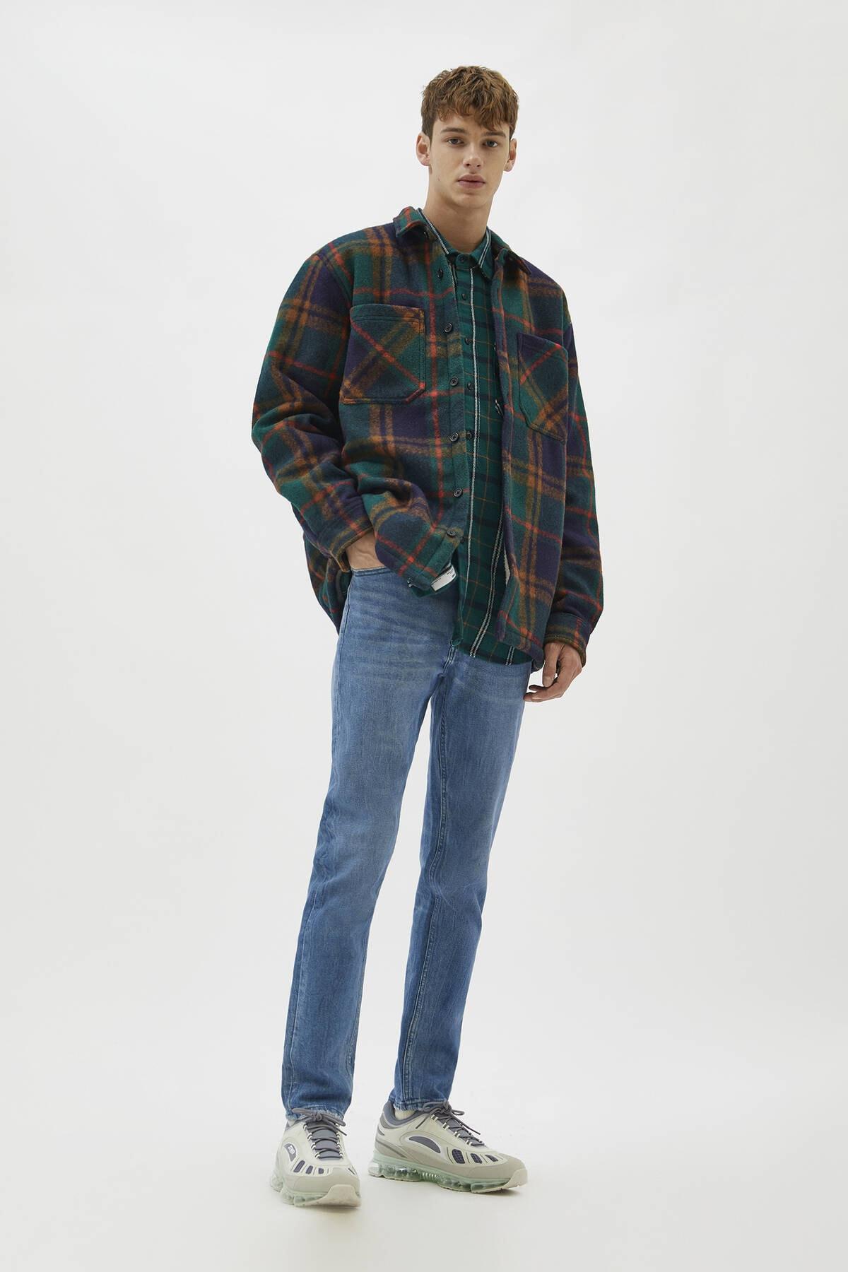 Pull & Bear Erkek Yeşilimsi Mavi Comfort Slim Fit Jean 04681504