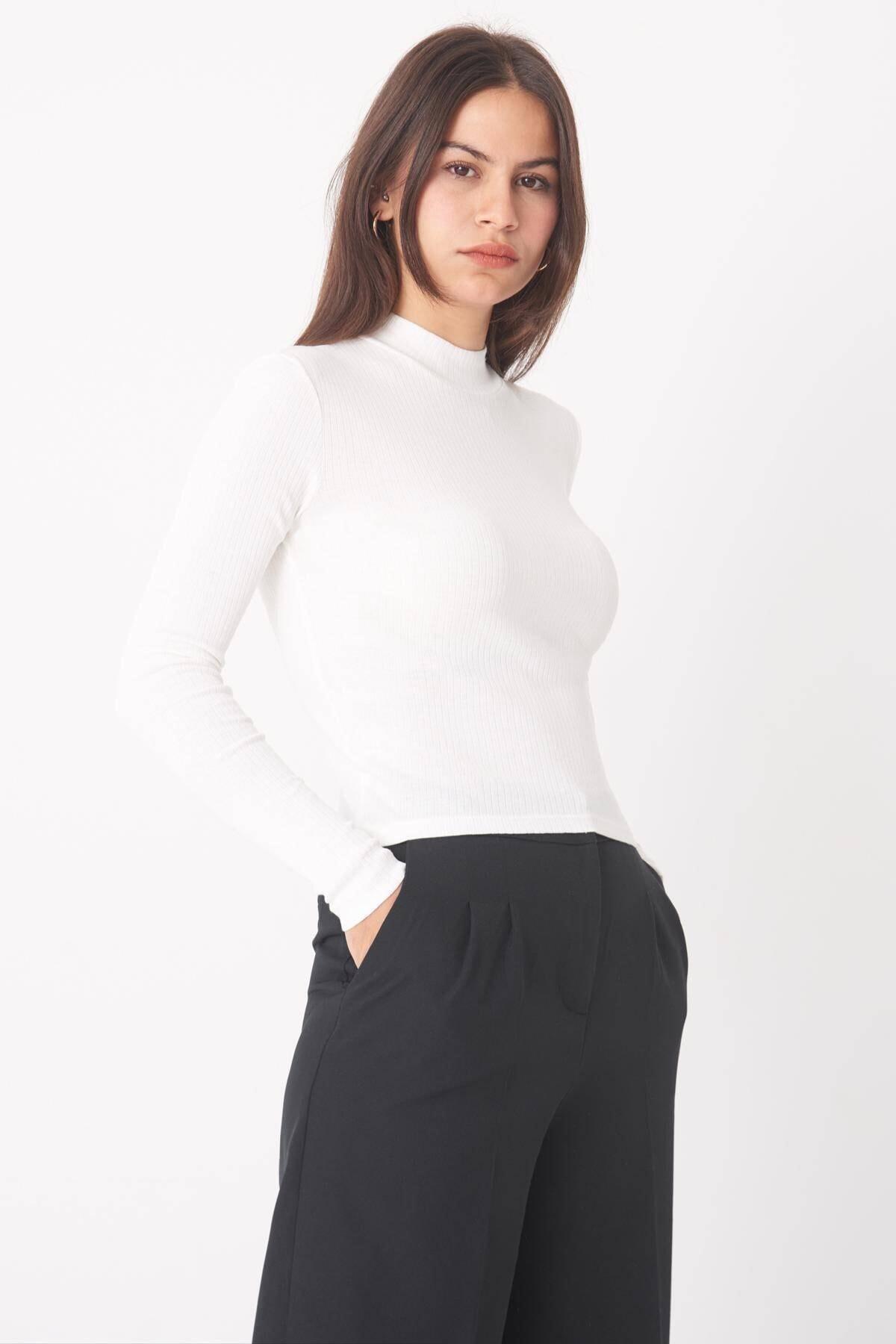 Addax Kadın Ekru Uzun Kollu Bluz B1070 - U8 ADX-0000023027 1