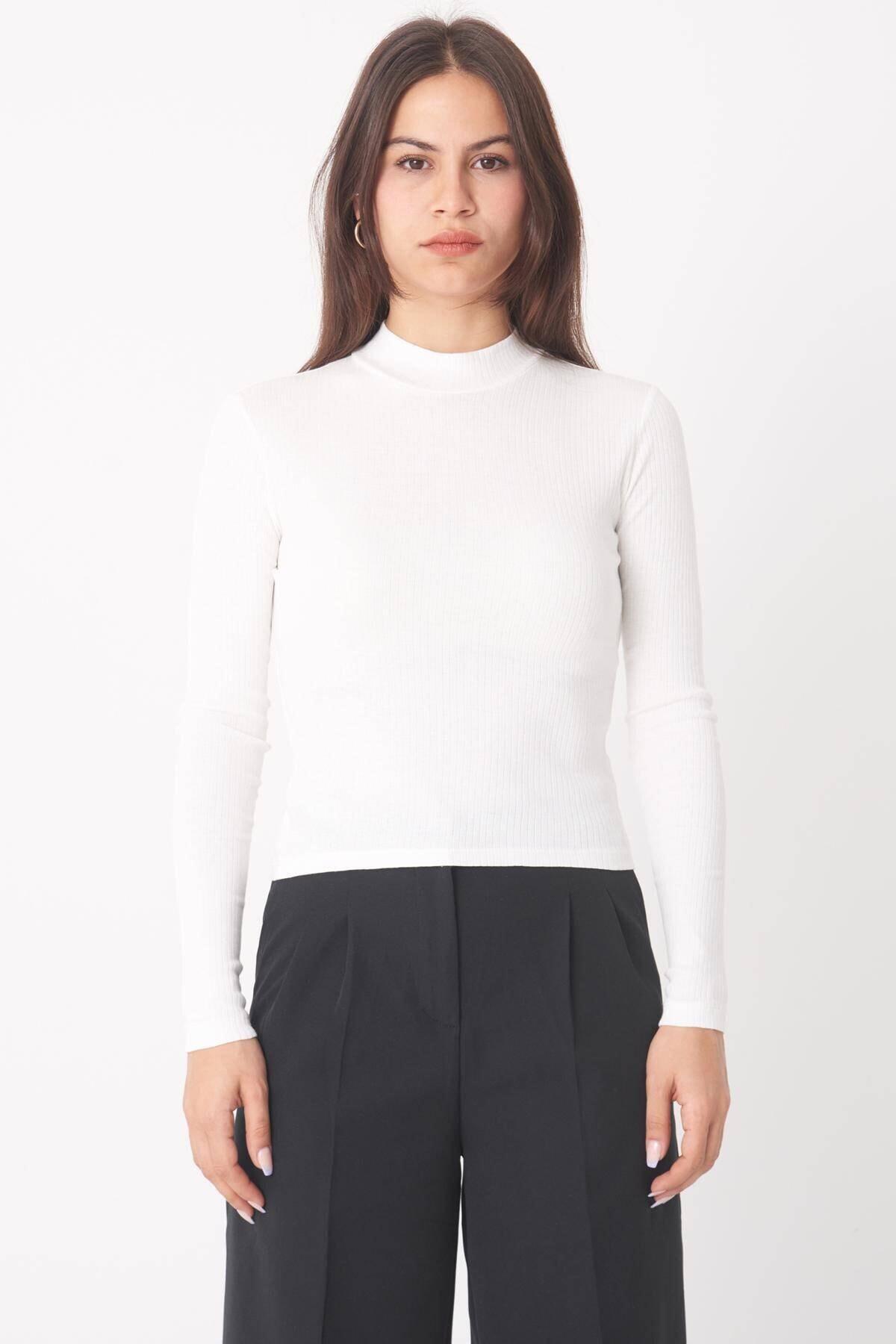 Addax Kadın Ekru Uzun Kollu Bluz B1070 - U8 ADX-0000023027 2