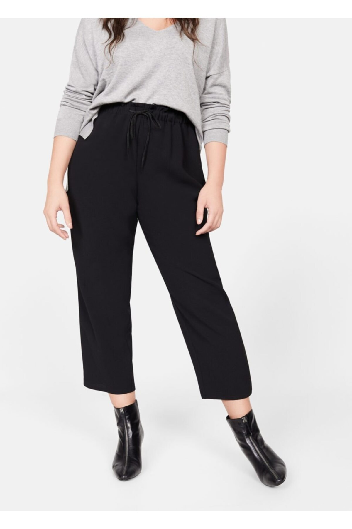 Violeta by MANGO Kadın Siyah Beli Elastik Pantolon 61110630 2