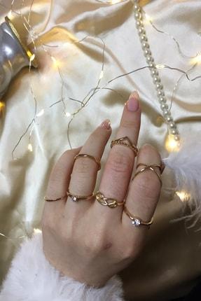 Ophelia Aksesuar Vintage Doğal Taşlı Gold Yüzük Seti