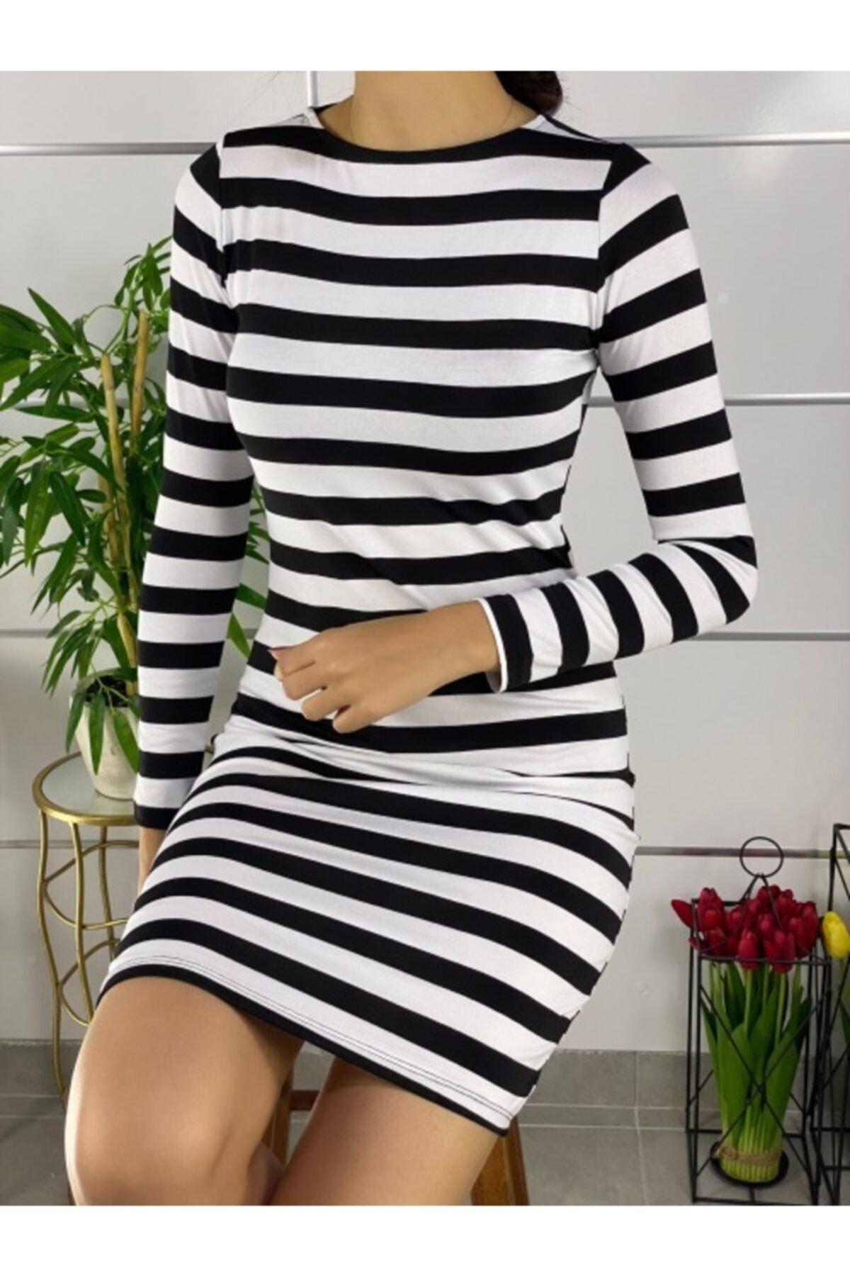 ELBİSENN Kadın Siyah Beyaz Çizgili Mini Basic Elbise 2