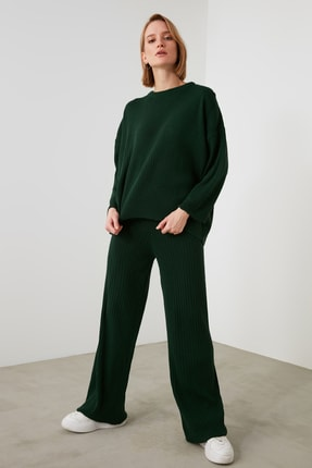 TRENDYOLMİLLA Zümrüt Yeşili Fitilli Kazak Pantolon Triko Alt-Üst Takım TWOSS20AU0084
