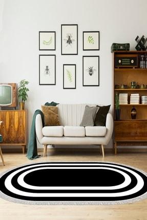 colizon Dekoratif Yıkanabilir Kaymaz Tabanlı Oval Halı Ko-2229-1-80x150
