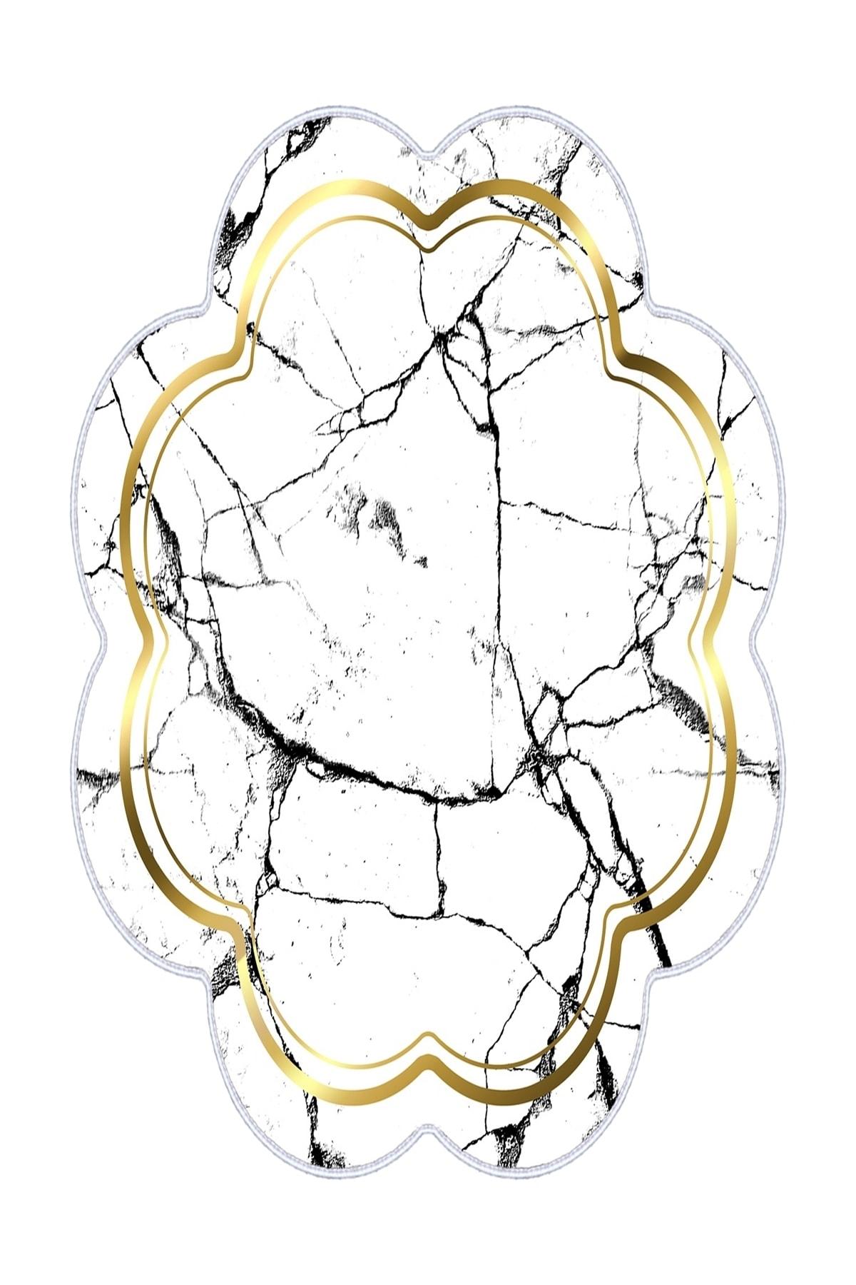 colizon Dekoratif Yıkanabilir Kaymaz Deri Tabanlı Lazer Kesim Salon Halısı 2