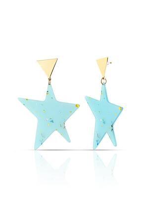 Duke Nickle Mavi Yıldız Motifli Küpe Rdpk5074