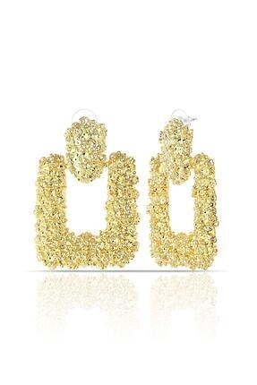 Duke Nickle Kabartmalı Altın Küpe Rdpk5068