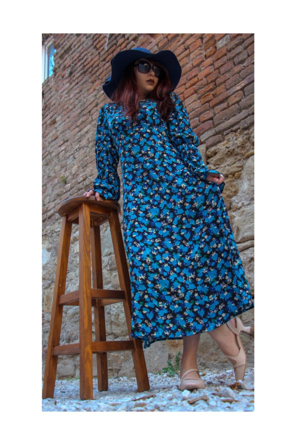 Flamingo Kadın Mavi Çiçekli Elbise 1