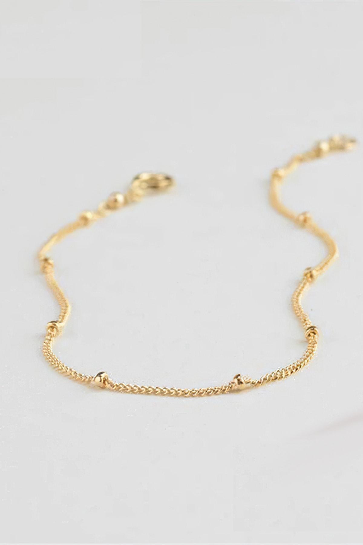 Roza Silver Kadın Altın Rengi Zarif Boncuk Süslemeli Gümüş Bileklik 2