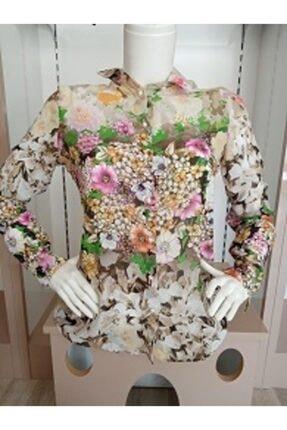 SERPİL Kadın Pembe Çiçekli Bluz