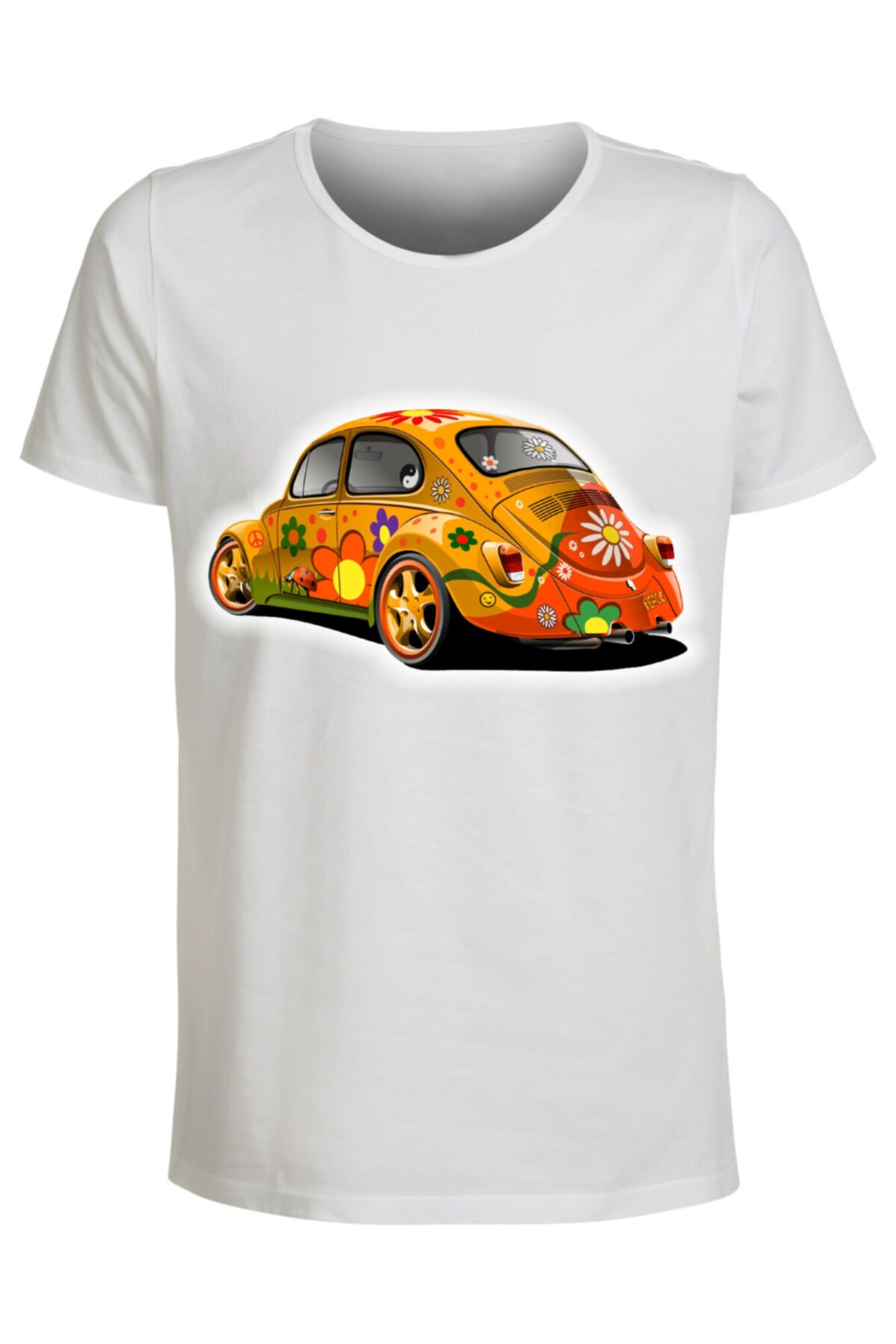 ABC Erkek Beyaz Baskılı T-shirt 1
