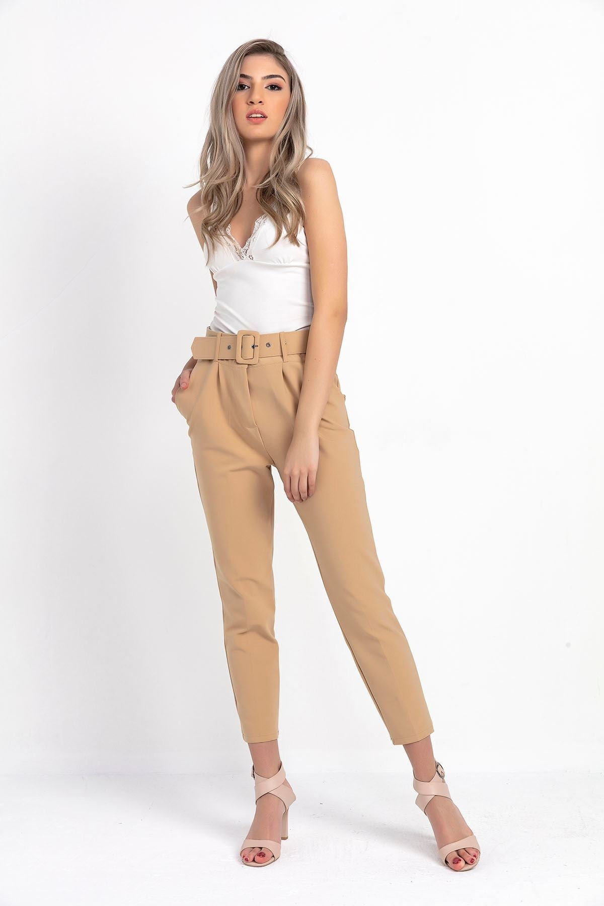 Zafoni Kadın Vizon Beli Kemerli Havuç Pantolon 1