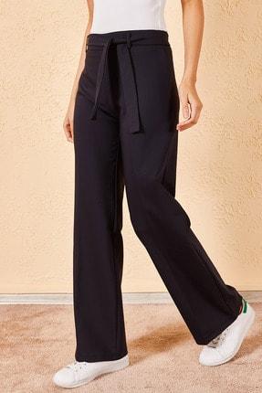 Zafoni Kadın Lacivert Beli Kuşaklı Geniş Paça Pantolon