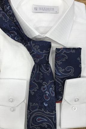 Quesste Accessory Lacivert Şal Desen Mendilli Kravat 8 cm