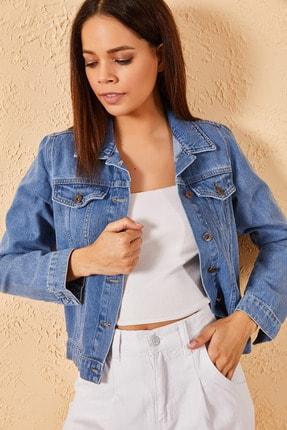 Zafoni Kadın Slim Kot Ceket