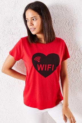 Zafoni Kadın Kırmızı Eşli Wifi Baskılı Tişört