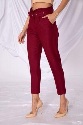 Zafoni Kadın Bel Detaylı Kemerli Bordo Kumaş Pantolon
