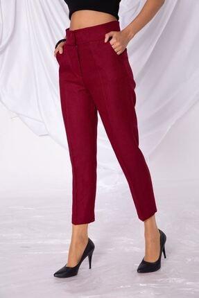 Zafoni Kadın Bordo Kalem Kumaş Pantolon