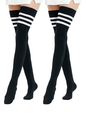Hane14 Kadın  Beyaz Çizgili Pamuklu Diz Üstü Çorap Siyah 2'li