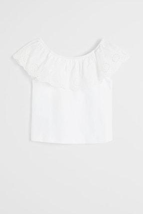 MANGO Kids Kız Çocuk Beyaz Lazer Kesim Detaylı Bluz
