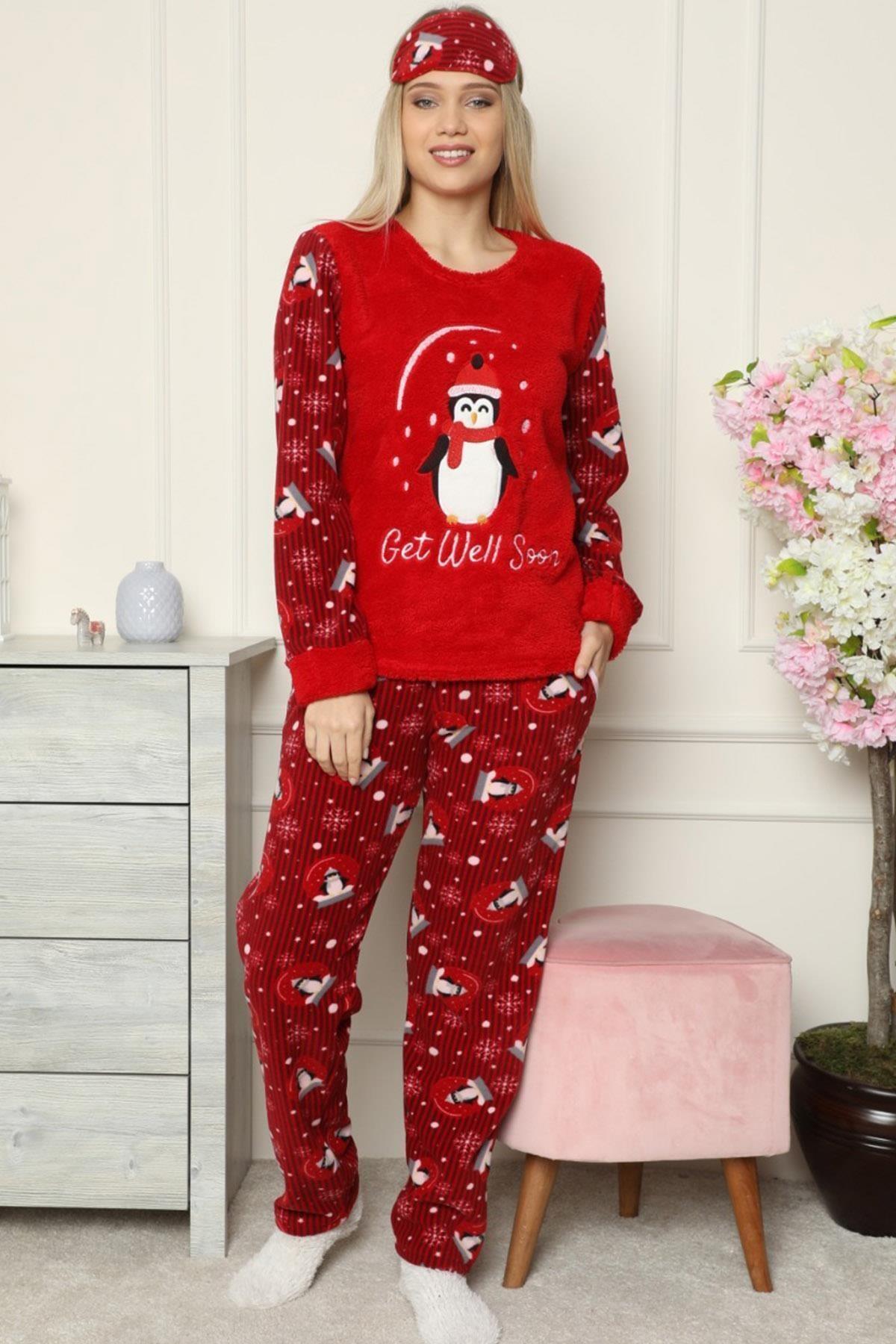 Pijamaevi Kırmızı Get Well Soon Desenli Kadın Peluş Pijama Takımı 2