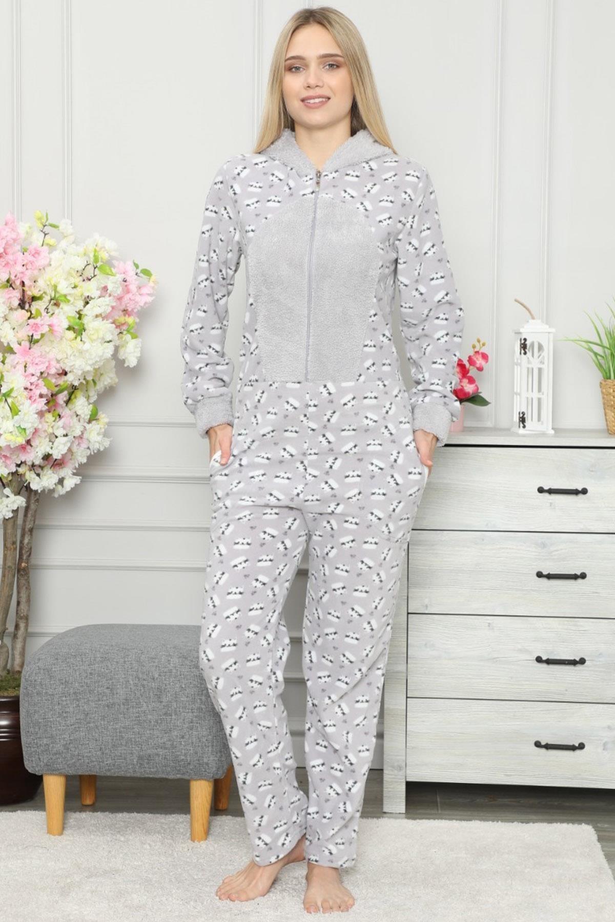 Pijamaevi Kedi Desenli Kadın Polar Peluş Tulum Pijama 2