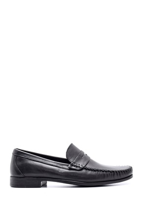 Derimod Erkek Siyah Deri Klasik Loafer