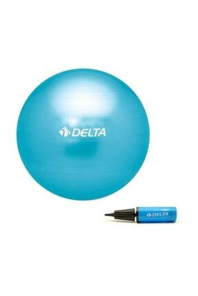 Delta 65 cm Turkuaz Deluxe Pilates Topu 25 cm Çift Yönlü Pompa