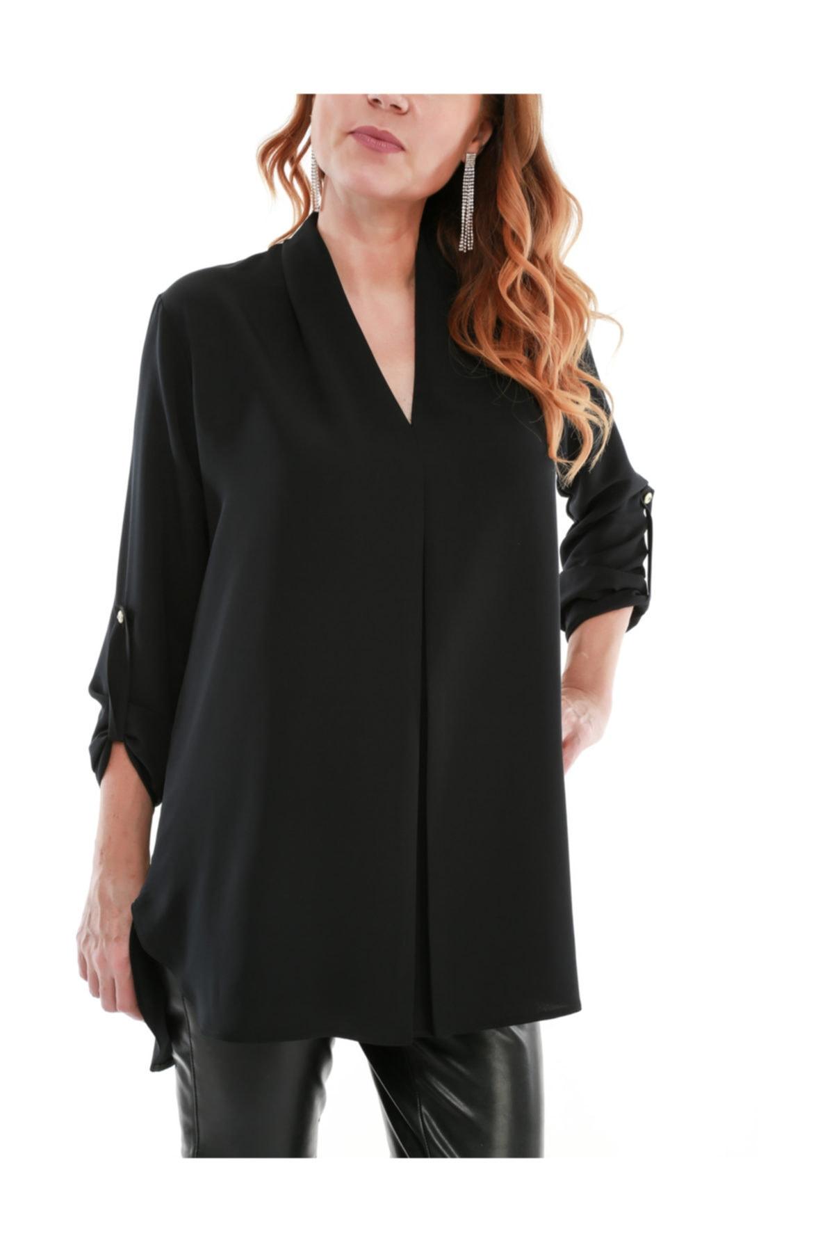 Melisita Kadın Siyah Elips Uzun Kol Tunik 1