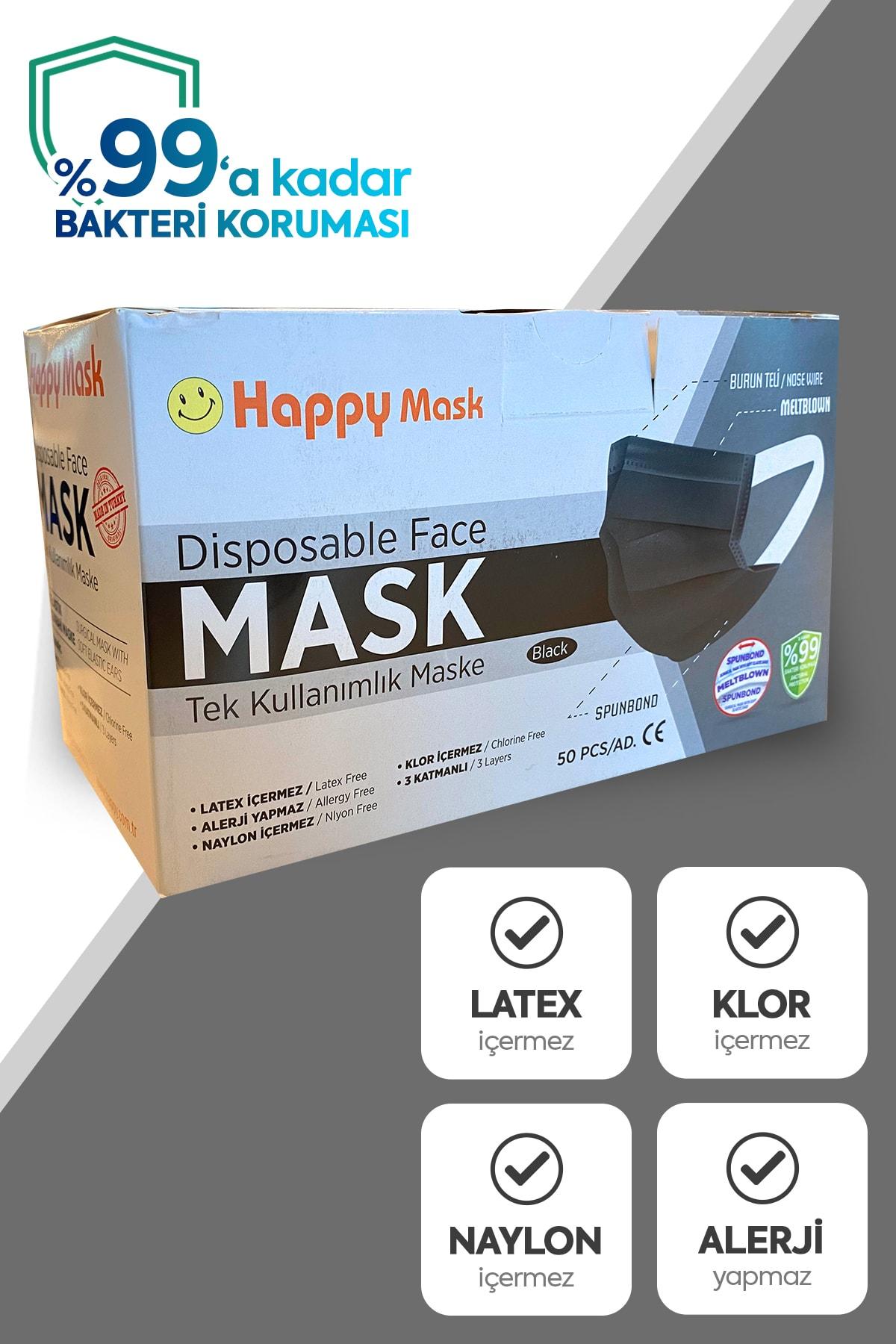 Happy Yumuşak Elastik Kulaklı 3 Katlı Telli Siyah Cerrahi Maske 2