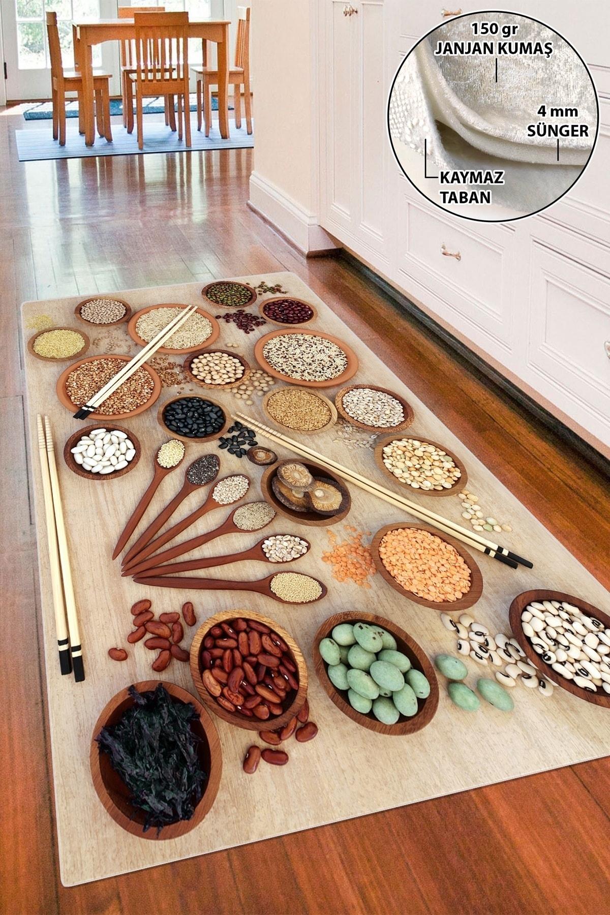 colizon Dekoratif Yıkanabilir Kaymaz Tabanlı Mutfak Halısı 1