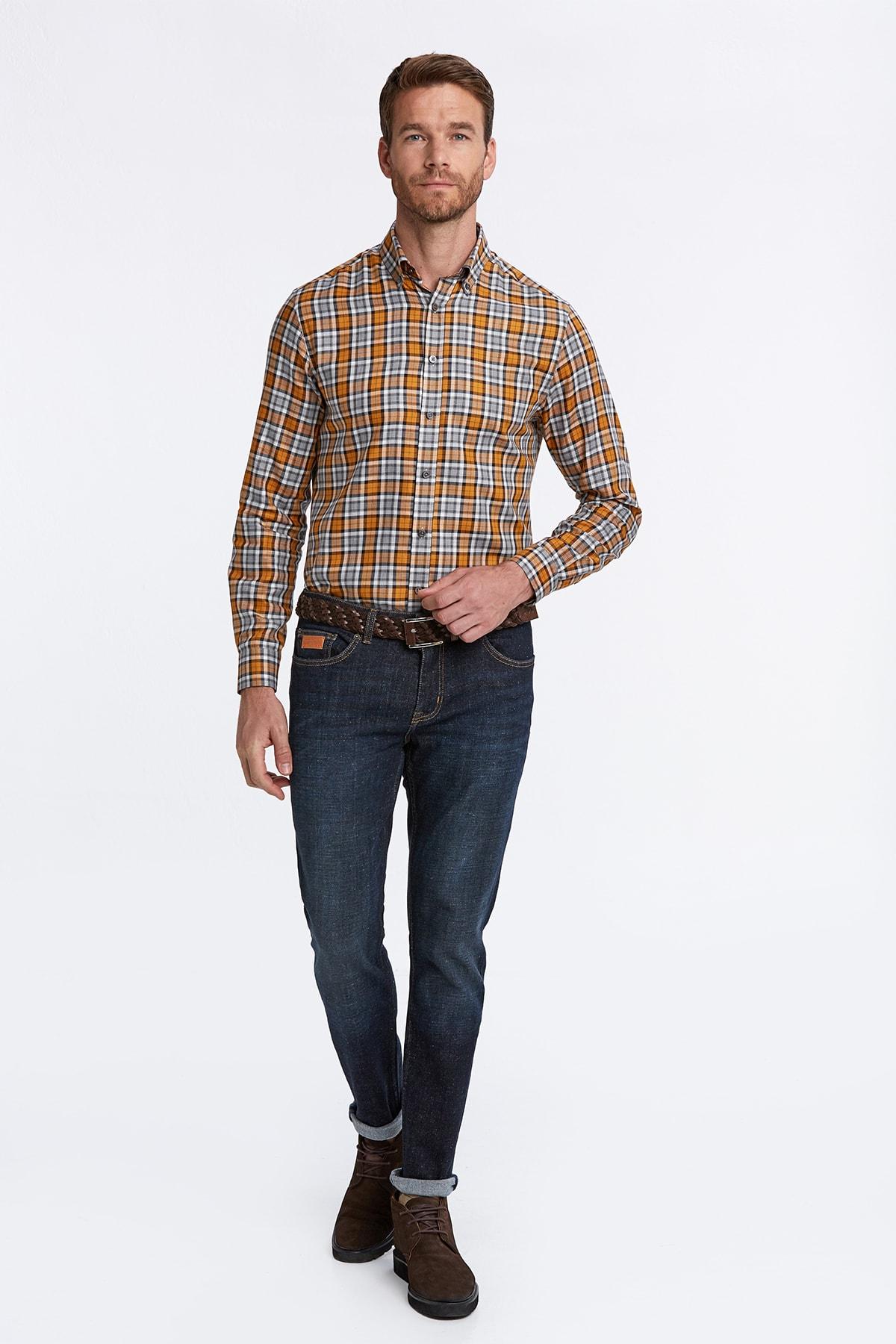 Hemington Erkek Turuncu Ekose Desen Turuncu Pamuk Gömlek 2