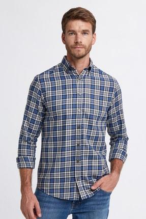 Hemington Erkek Mavi Ekose Desen Pamuk Gömlek