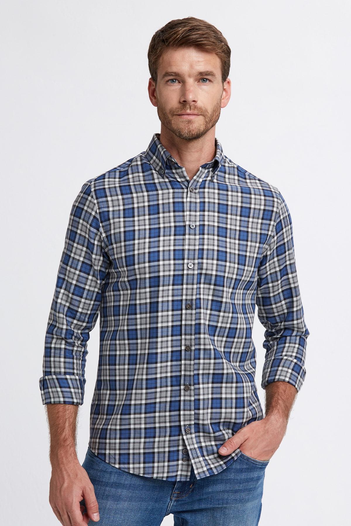 Hemington Erkek Mavi Ekose Desen Pamuk Gömlek 1