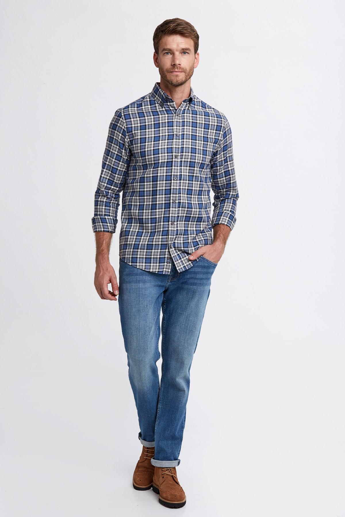 Hemington Erkek Mavi Ekose Desen Pamuk Gömlek 2