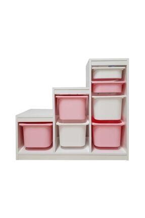 Monkabox Montessori Pembe-beyaz Sepet Basamaklı Oyuncak Dolabı Saklama Ünitesi