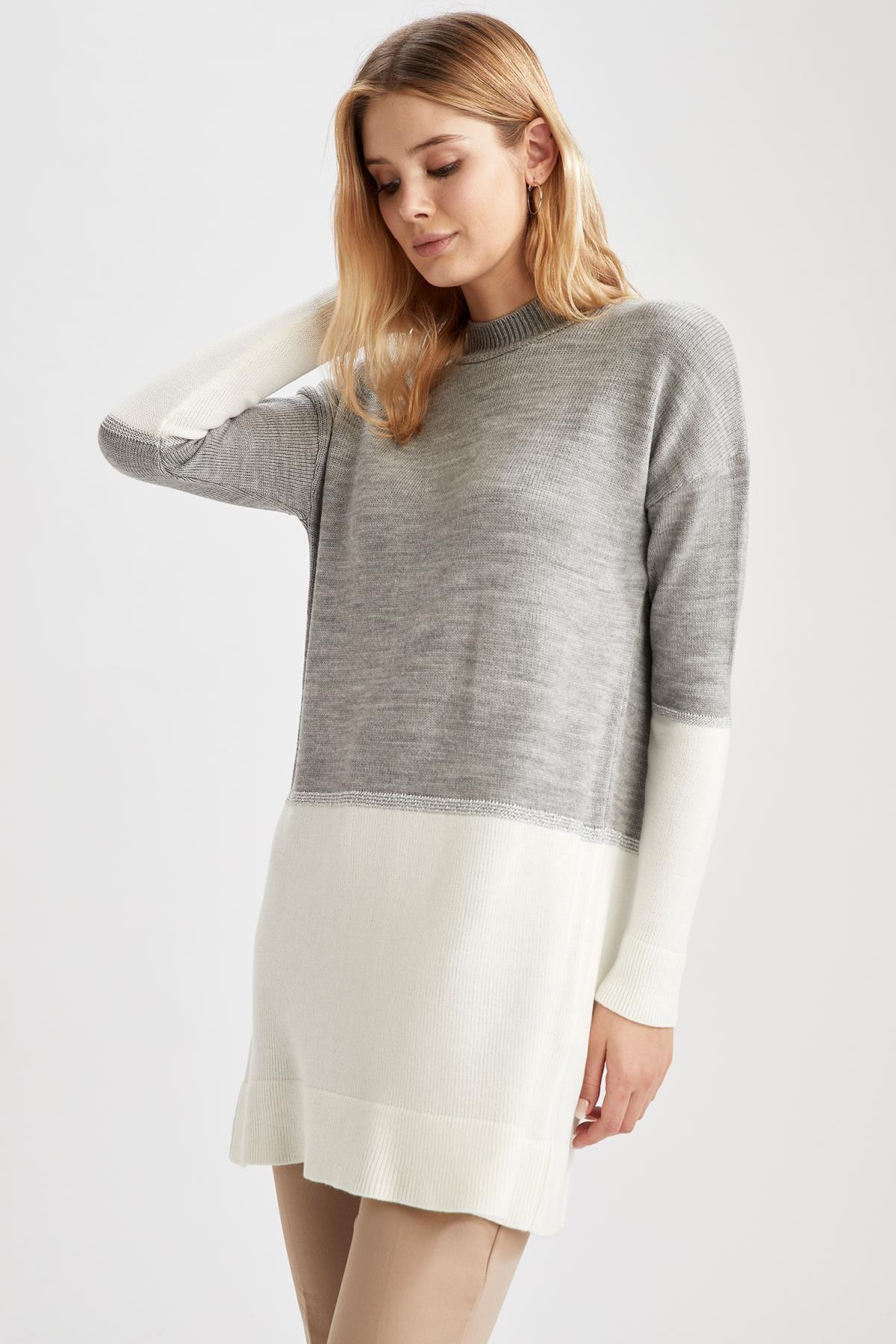 DeFacto Kadın Grey Renk Geçişli Triko Tunik S2129AZ20WN