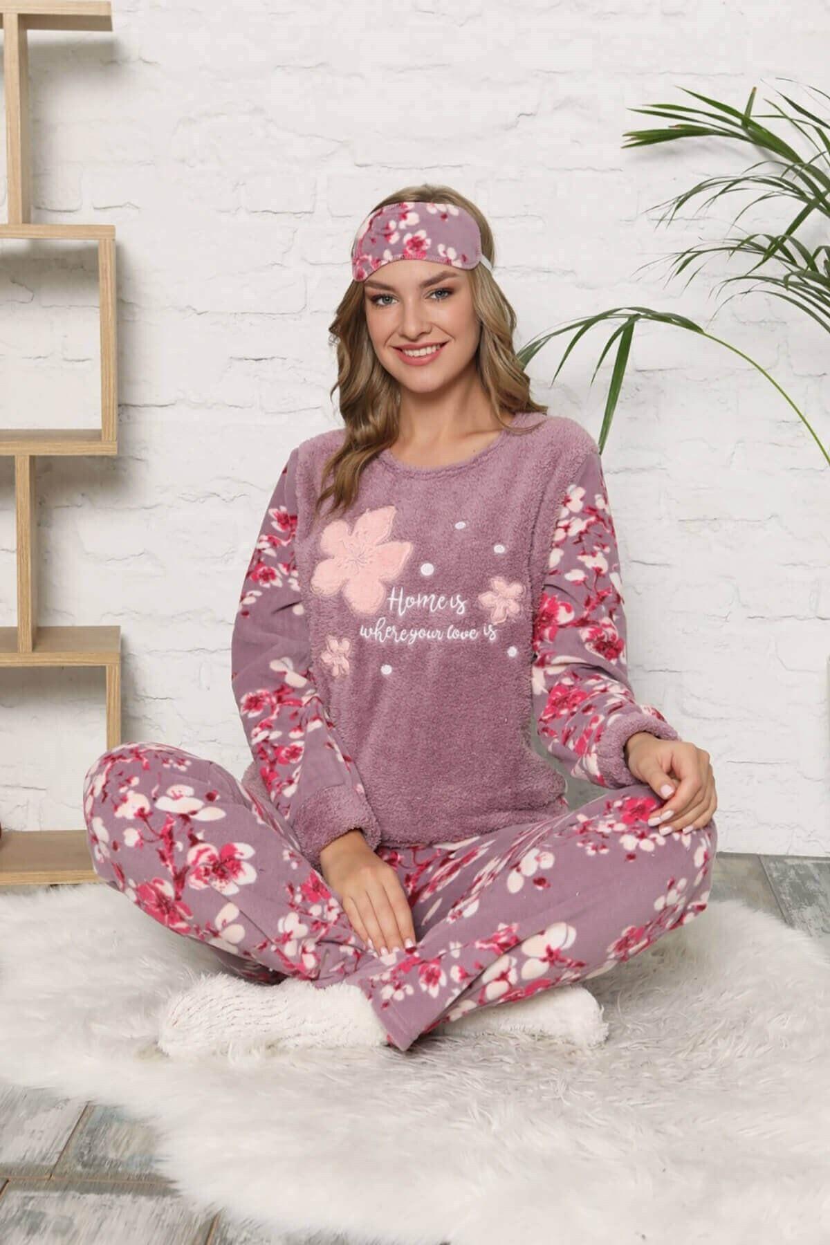 Mossta Kadın Mor Polar  Pijama Takımı 1