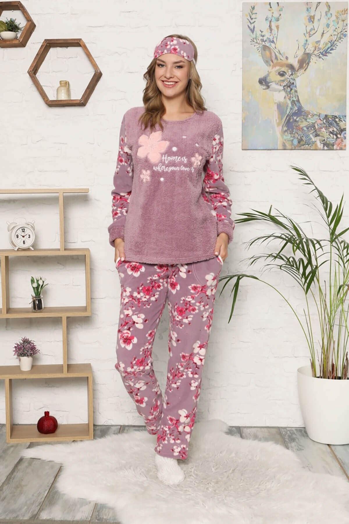 Mossta Kadın Mor Polar  Pijama Takımı 2