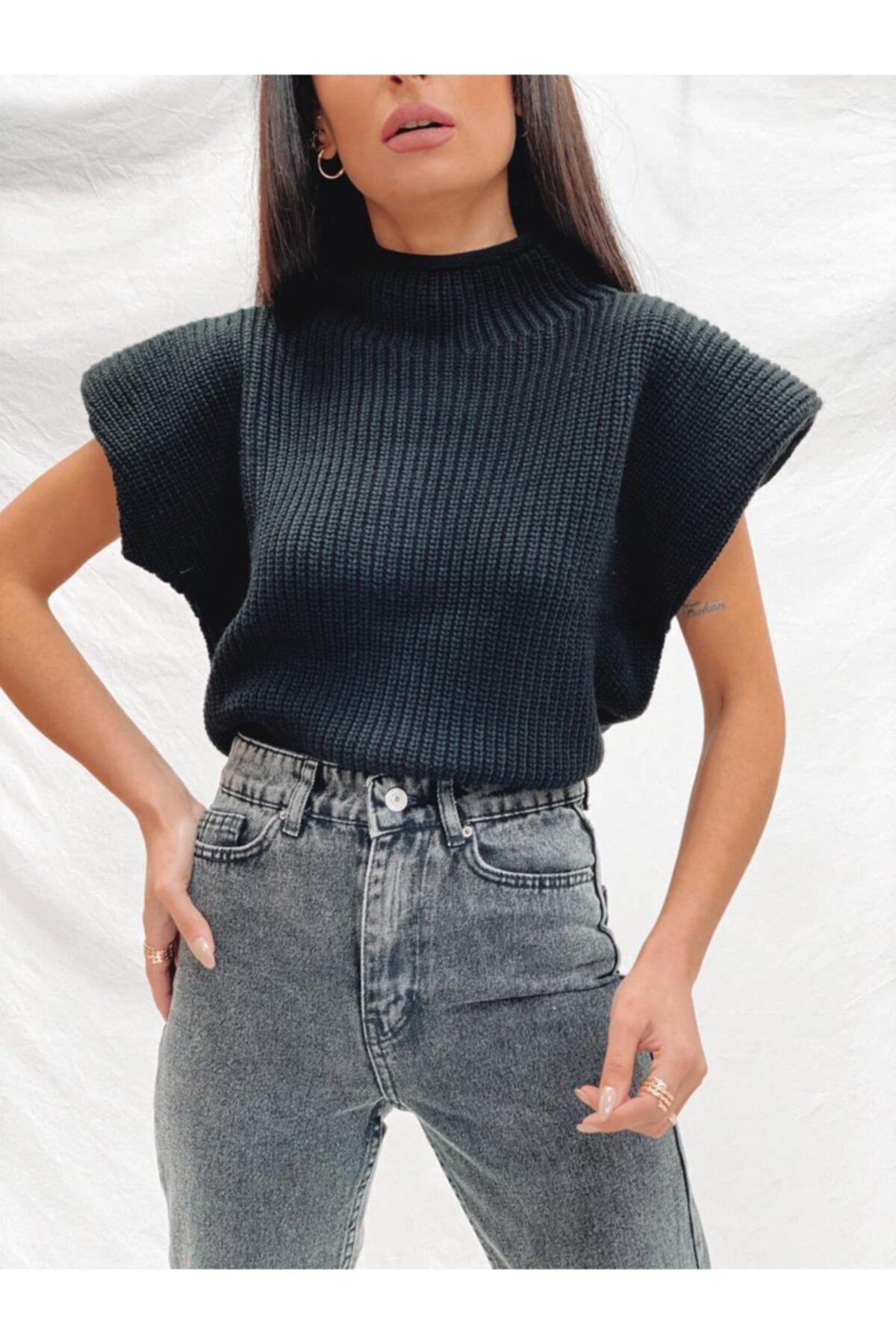 PurpuraVioleta Kadın Siyah Vatkalı Örme Bluz 1