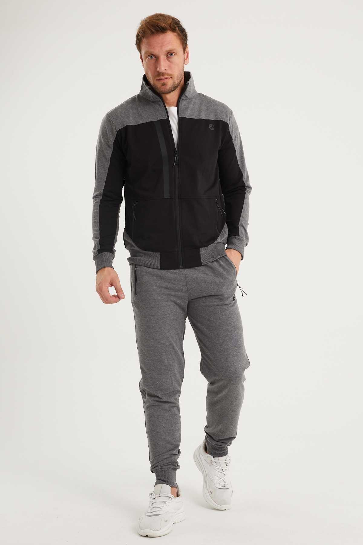Giymoda Erkek Siyah Dik Yakalı Eşofman Takımı 1