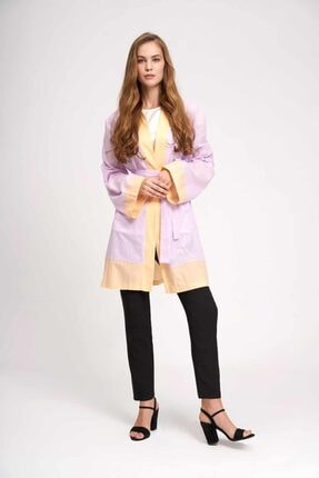 Mizalle Kadın Lila Vual Renkli Plaj Kimono 19YGMZL1019010
