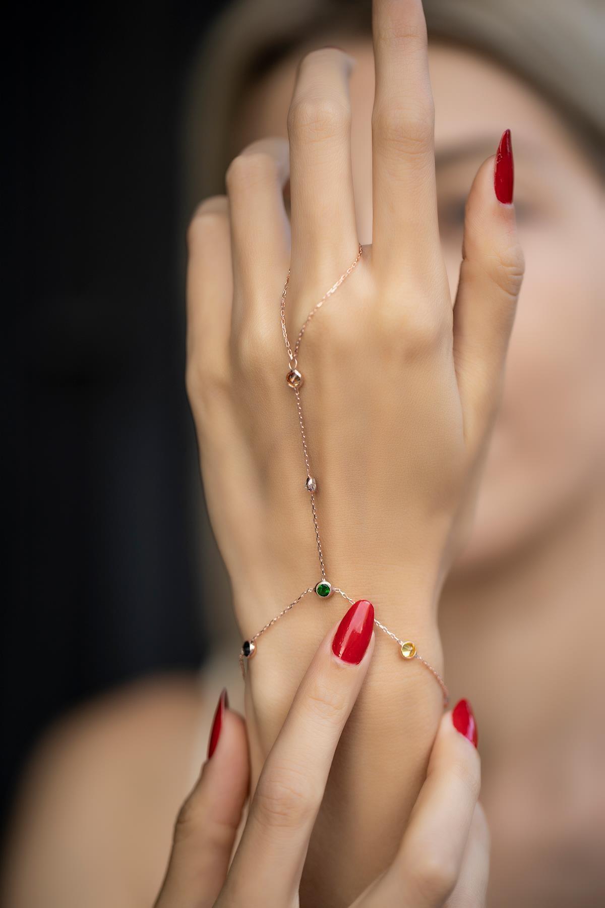 İzla Design Kadın Karışık Taşlı Rose Kaplama Gümüş Şahmeran İZLASLVR00551 1