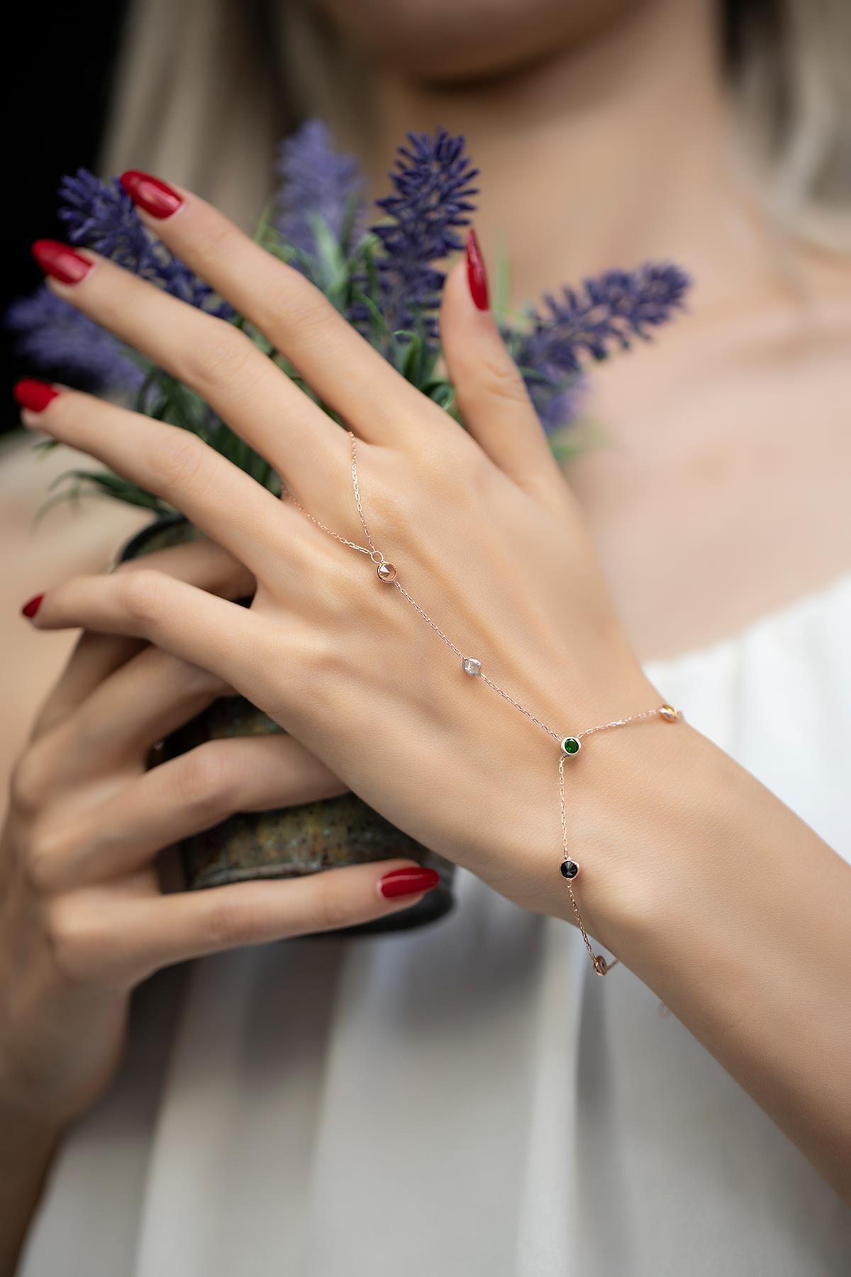 İzla Design Kadın Karışık Taşlı Rose Kaplama Gümüş Şahmeran İZLASLVR00551 2